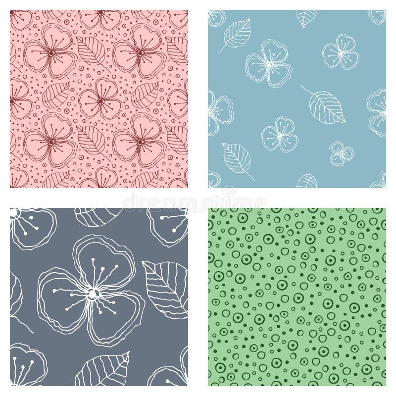Комплект безшовных цветочных узоров вектора Красочной предпосылка нарисованная рукой с цветками, листьями, декоративными элемента иллюстрация штока