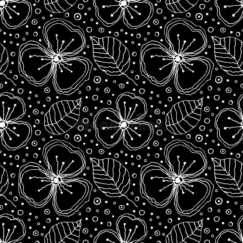 Комплект безшовных цветочных узоров вектора Черно-белой предпосылка нарисованная рукой с цветками, листьями, декоративными элемен иллюстрация штока