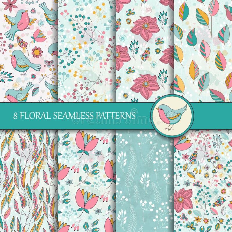 Комплект 8 безшовных цветочных узоров иллюстрация штока