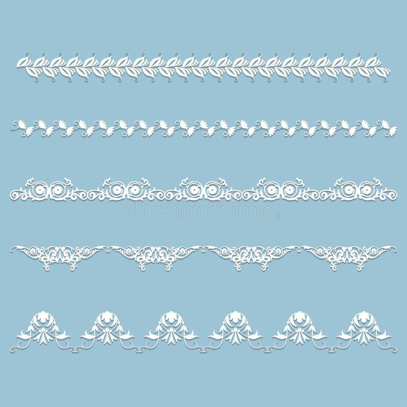 Комплект белой границы шнурка с тенью иллюстрация вектора