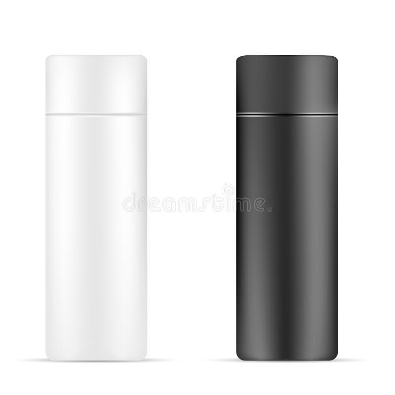Комплект белой и черной красоты/косметической бутылки продукта на изолированной белой предпосылке иллюстрация вектора