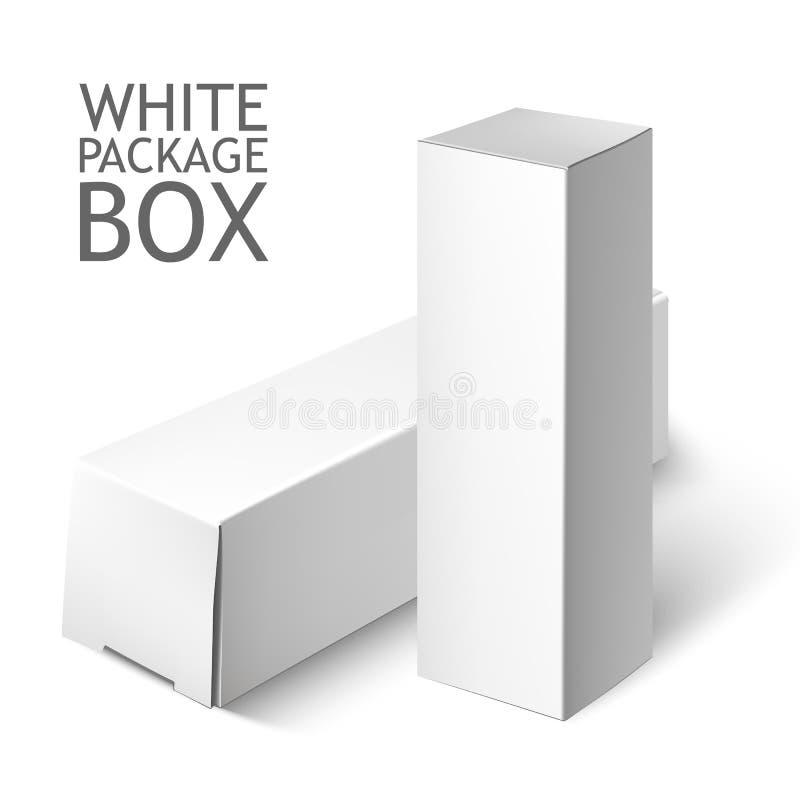 Комплект белой коробки пакета Шаблон модель-макета иллюстрация вектора