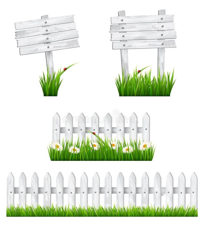 Комплект белых деревянных знаков и загородки с травой. иллюстрация вектора