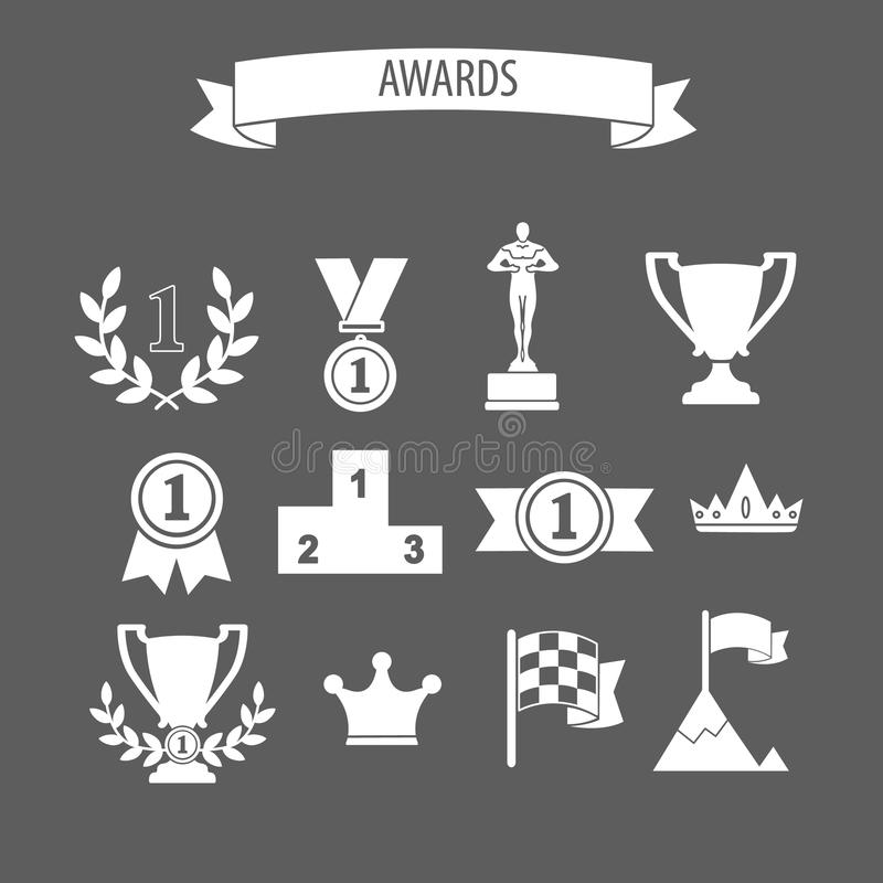 Комплект белых значков успеха и победы награды вектора с trophie бесплатная иллюстрация