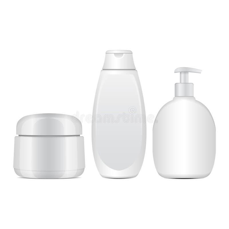 Комплект белых косметических бутылок Реалистические трубка или контейнер для сливк, мази, лосьона Косметическая пробирка для шамп иллюстрация вектора