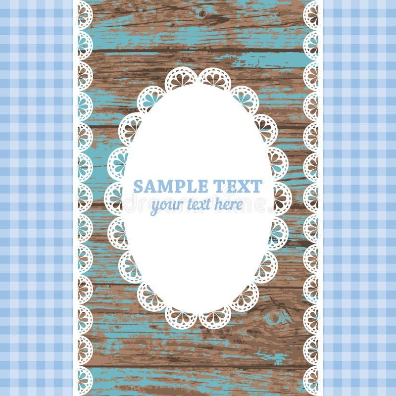 Комплект белых doily и лент рамки шнурка на голубой деревянной предпосылке бесплатная иллюстрация