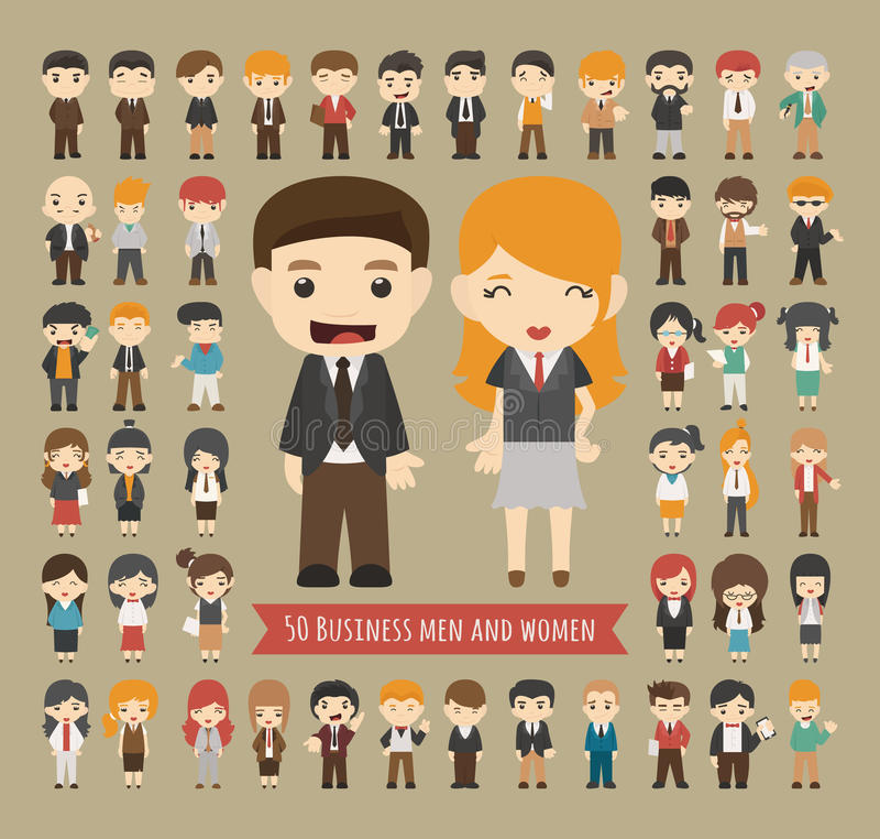 Комплект 50 бизнесменов и женщин иллюстрация вектора