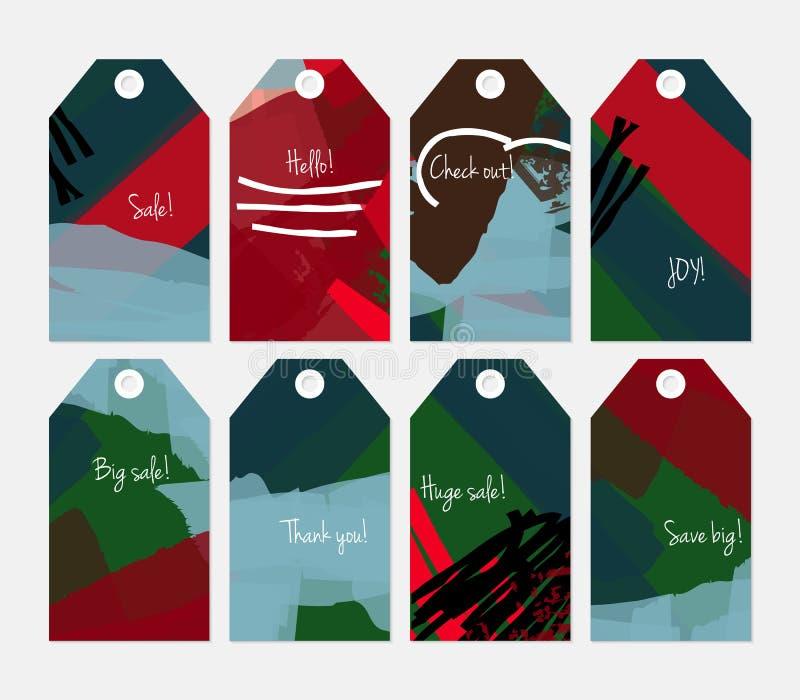 Комплект бирки абстрактного грубого зеленого цвета ходов grunge красный голубой бесплатная иллюстрация