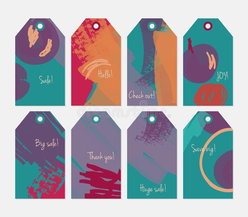 Комплект бирки абстрактных грубых ходов grunge оранжевый зеленый фиолетовый иллюстрация штока