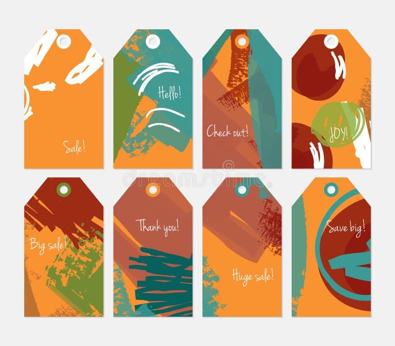 Комплект бирки абстрактных грубых ходов grunge оранжевый зеленый коричневый иллюстрация вектора