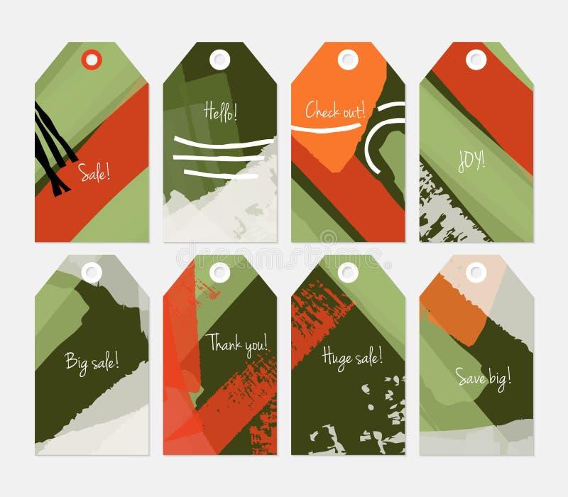Комплект бирки абстрактных грубых ходов grunge серый красный белый зеленый бесплатная иллюстрация