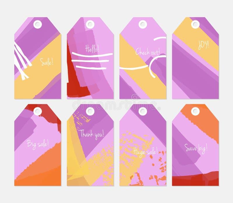 Комплект бирки абстрактных грубых ходов grunge серый фиолетовый желтый иллюстрация вектора