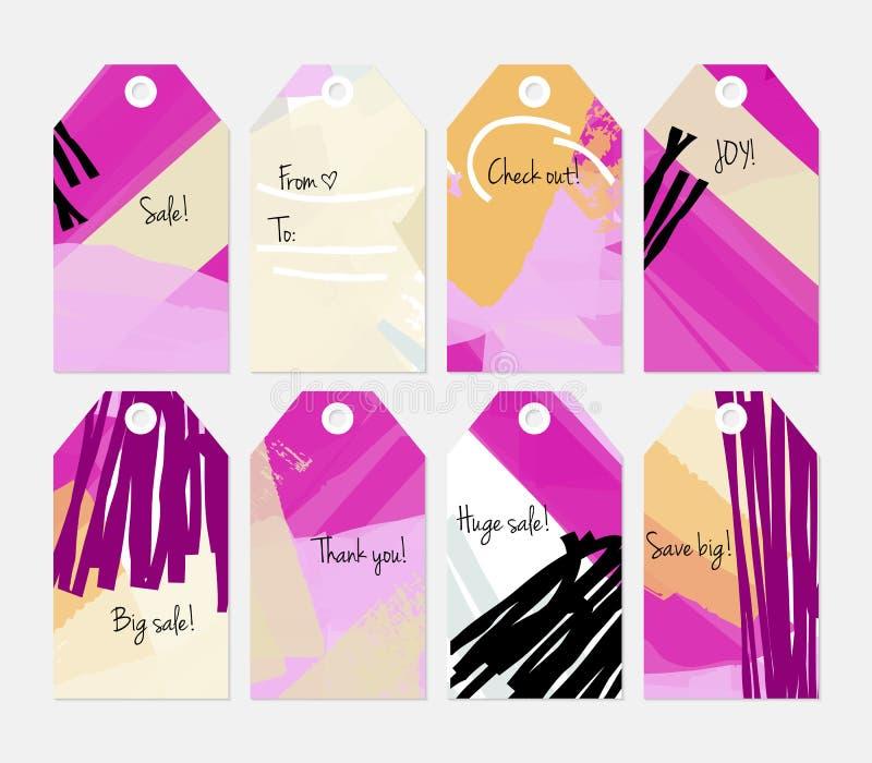 Комплект бирки абстрактных грубых ходов grunge фиолетовый желтый черный бесплатная иллюстрация