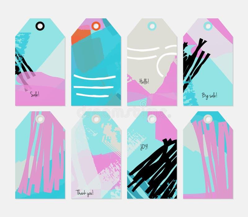 Комплект бирки голубой черноты абстрактных грубых ходов grunge фиолетовый иллюстрация штока