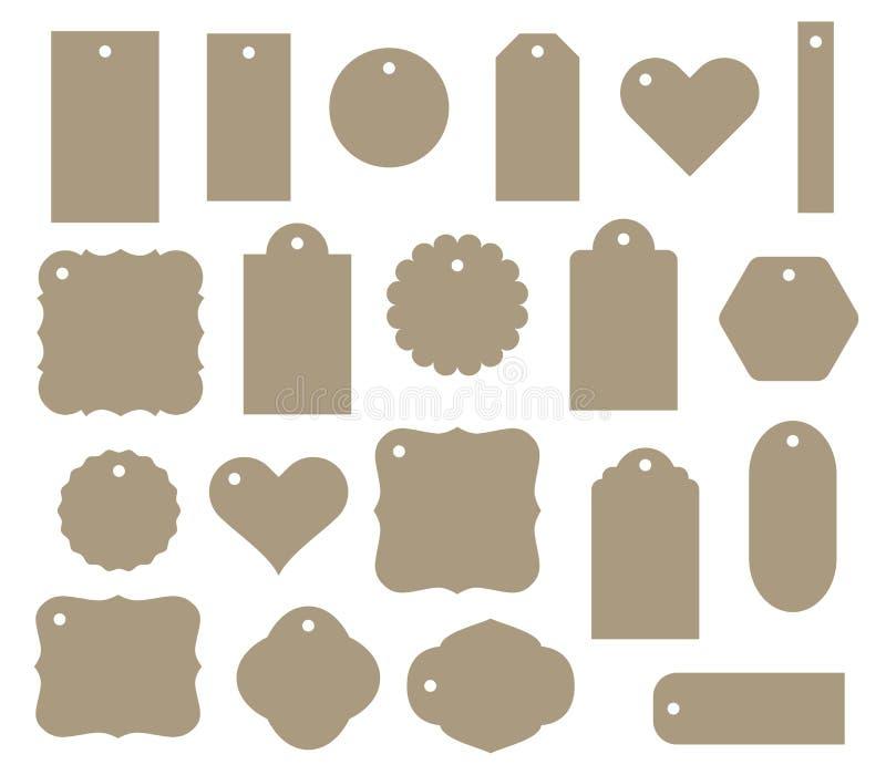 Комплект бирки подарка вектора, ярлыка скидки 20 различных форм иллюстрация штока