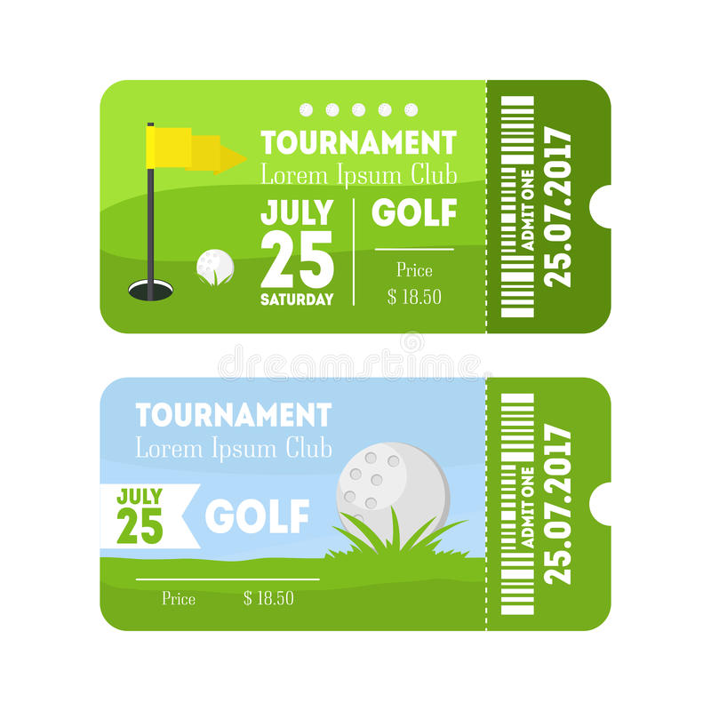 Комплект билета спорта гольфа вектор иллюстрация штока