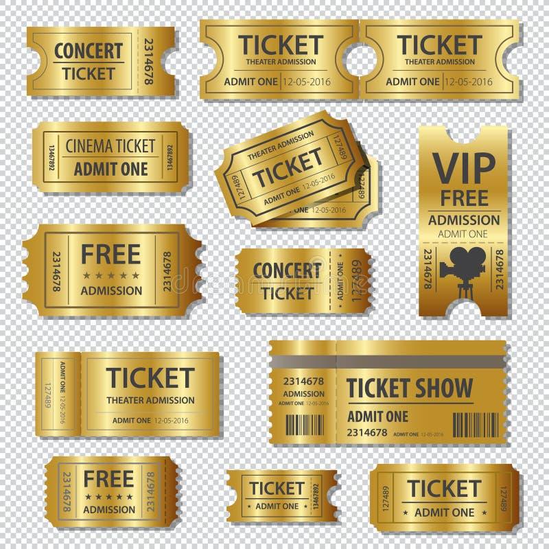Комплект 11 билетов вектора и шаблонов талонов иллюстрация штока