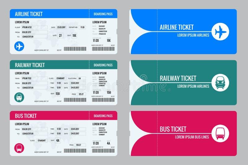 Комплект билетов самолета, шины и поезда Перемещение по всему миру и страны Воссоздание и развлечения Бизнес иллюстрация штока