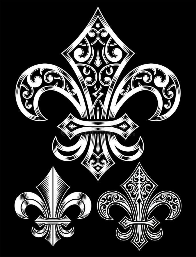 Комплект Богато украшенный Fleur De Lis Вектора иллюстрация штока