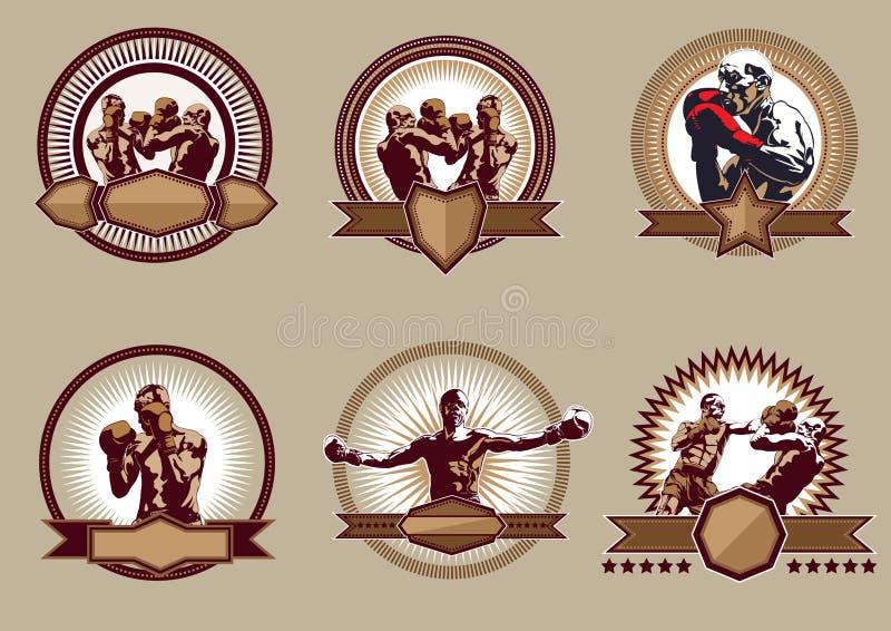 Комплект боевых значков или эмблем спорта иллюстрация штока