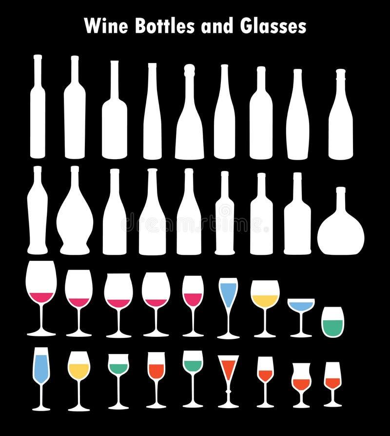Комплект бокалов и бутылок бесплатная иллюстрация