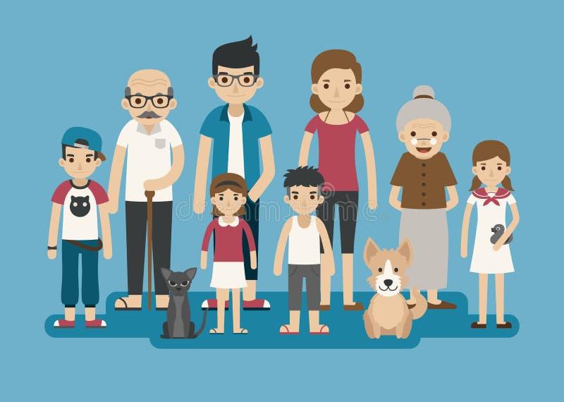 Комплект большого счастливого характера семьи бесплатная иллюстрация