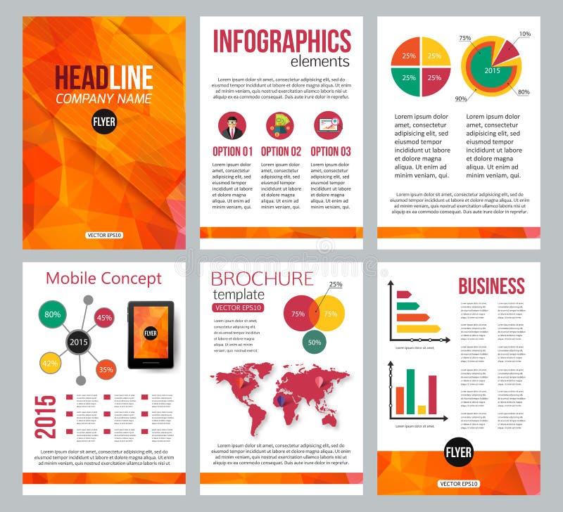 Комплект брошюры канцелярских принадлежностей корпоративного бизнеса иллюстрация вектора