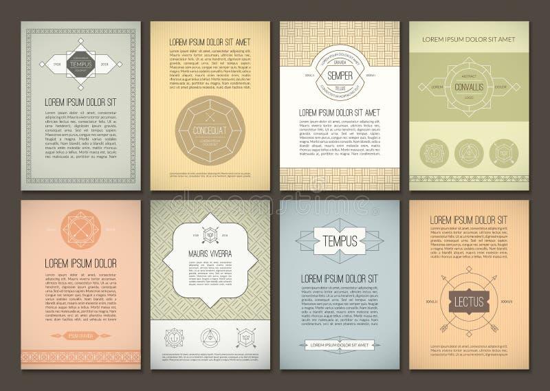 Комплект брошюр в винтажном стиле Шаблоны дизайна вектора Геометрические ретро рамки иллюстрация штока