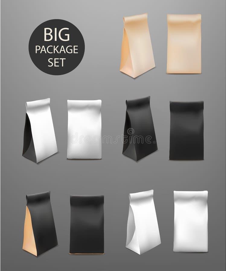 Комплект бумажного пакета сумки еды большой для кофе, чая, закусок, обломоков, завтрака, еды Насмешка вверх по шаблону готовому д бесплатная иллюстрация