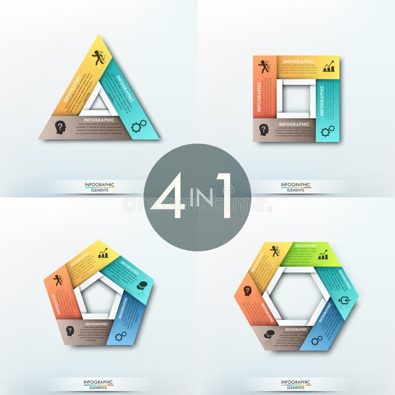 Комплект 4 бумажных шаблонов infographics иллюстрация штока
