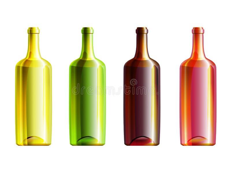 Комплект 4 бутылок с различным стеклянным цветом иллюстрация вектора