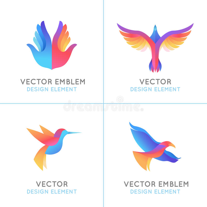 Комплект вектора абстрактных эмблем градиента иллюстрация вектора