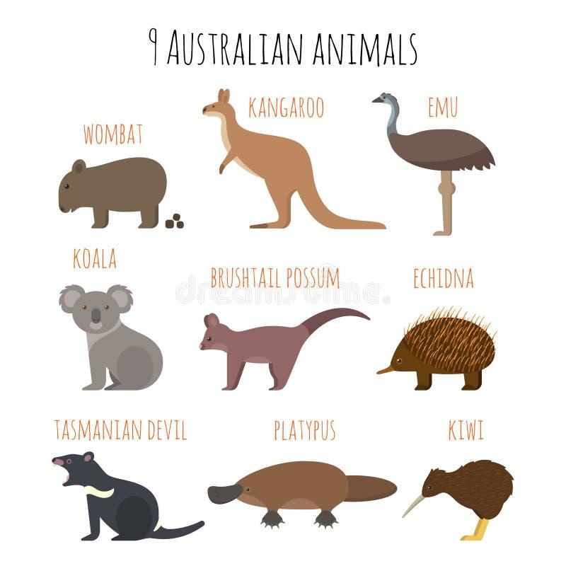 Комплект вектора австралийских значков животных иллюстрация штока