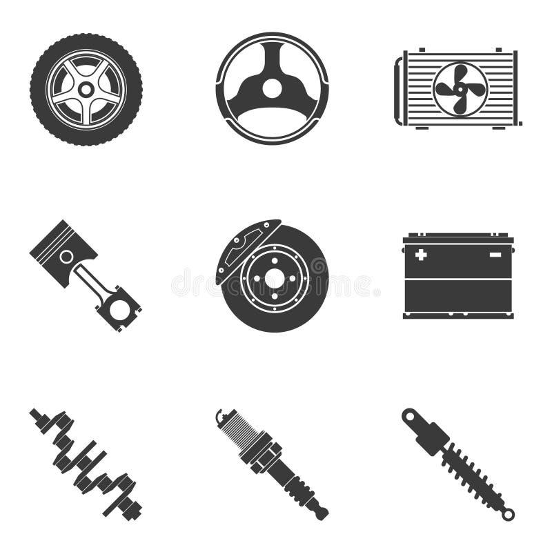 Комплект вектора автоматических запасных частей иллюстрация вектора