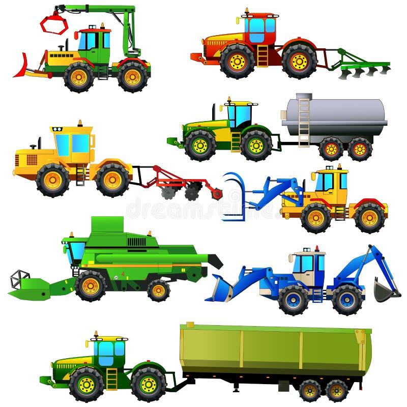 Комплект вектора аграрных кораблей и машин фермы изолировано иллюстрация вектора