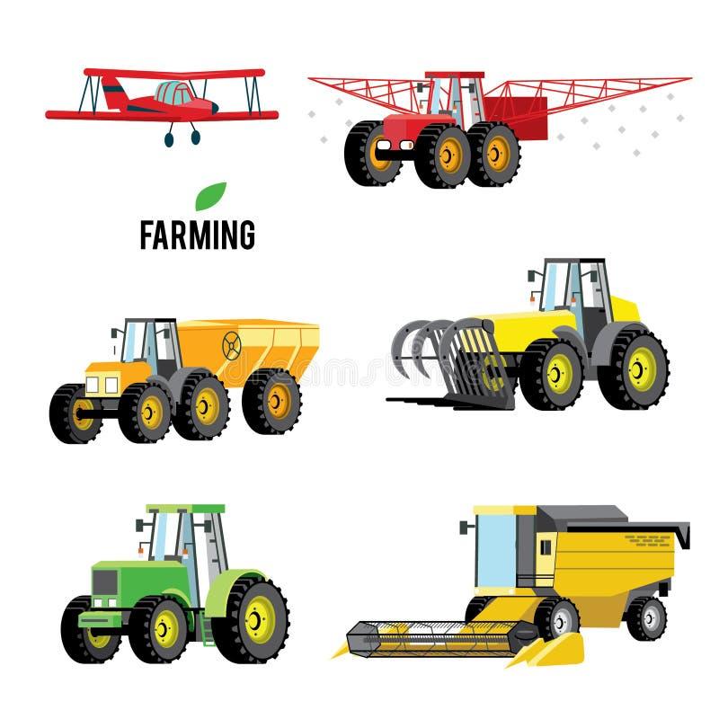 Комплект вектора аграрных кораблей и машин фермы Тракторы, жатки, совмещают Иллюстрация в плоском дизайне бесплатная иллюстрация