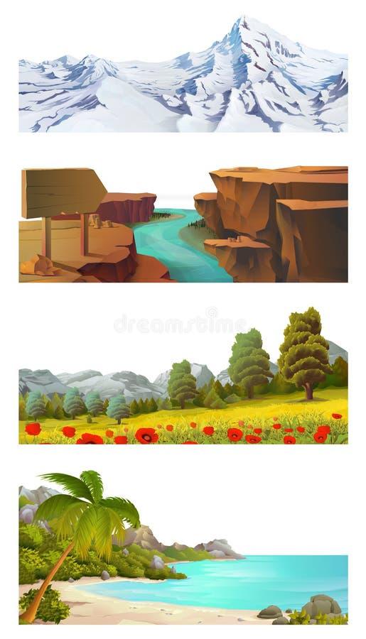 Комплект вектора ландшафта природы иллюстрация штока