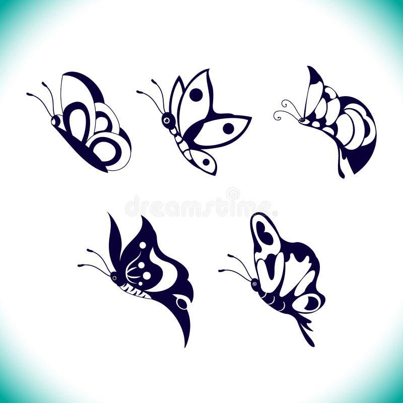 Комплект вектора бабочки стоковая фотография rf