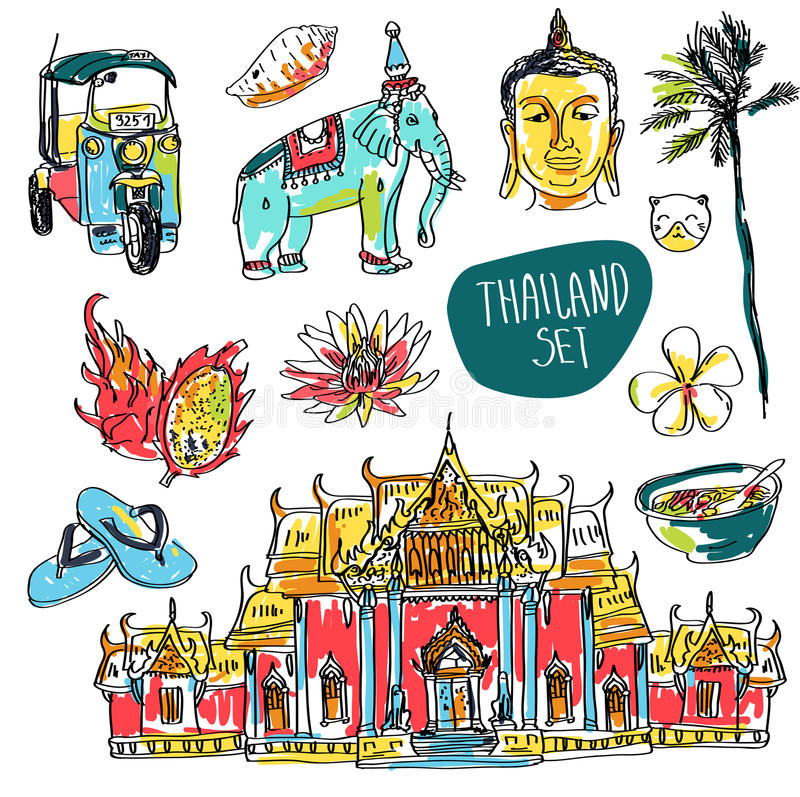 Комплект вектора Бангкока (Таиланда) при висок, Будда, слон и лотос изолированные на белой предпосылке иллюстрация вектора