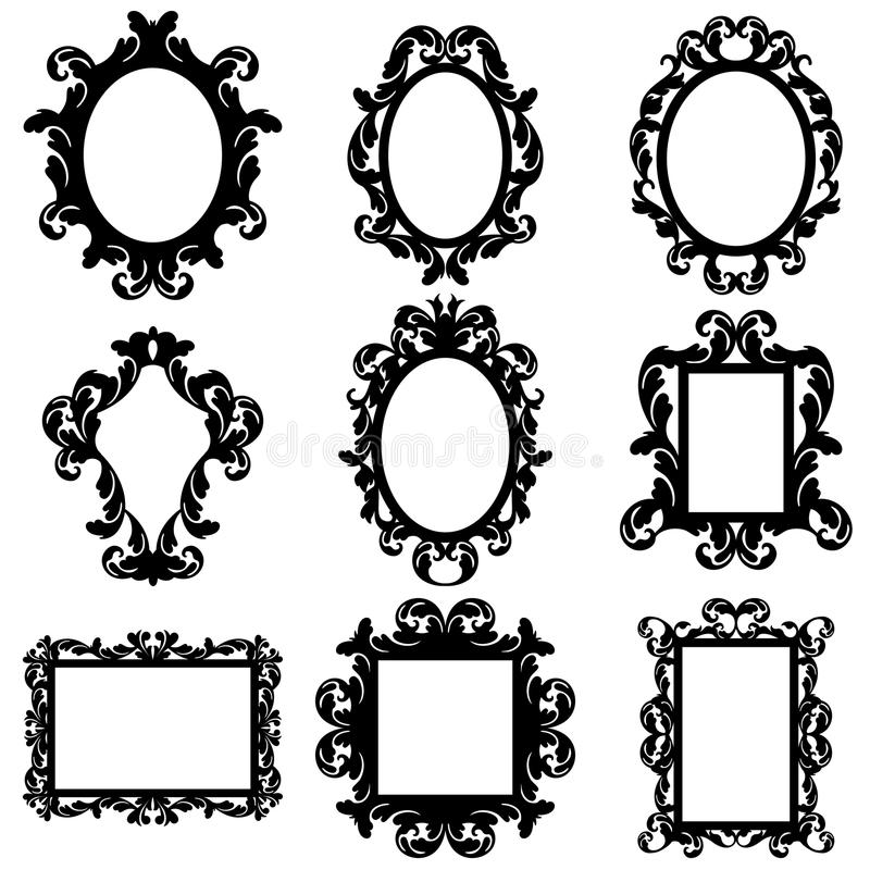 Комплект вектора барочных силуэтов рамки бесплатная иллюстрация