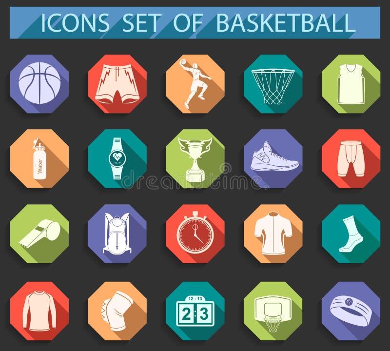 Комплект вектора баскетбола значков в плоском стиле бесплатная иллюстрация