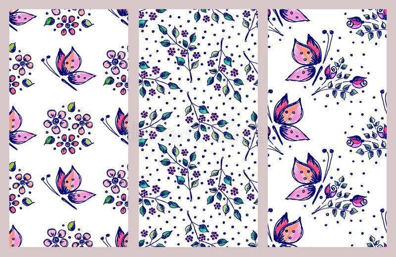 Комплект вектора безшовного цветочного узора с бабочками, цветками, листьями, декоративные элементы вручает вычерченные линии кон иллюстрация штока