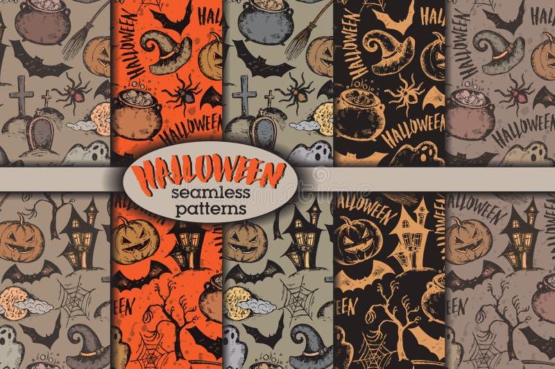 Комплект вектора 5 безшовных картин с характерами хеллоуина эскиза иллюстрация вектора