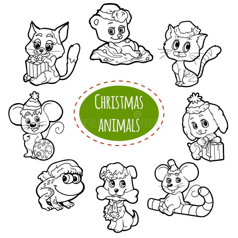 Комплект вектора бесцветный животных рождества милых бесплатная иллюстрация