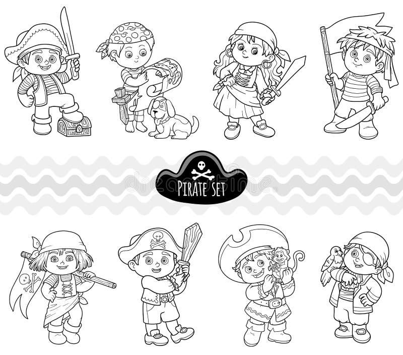Комплект вектора бесцветный пиратов характеров иллюстрация штока