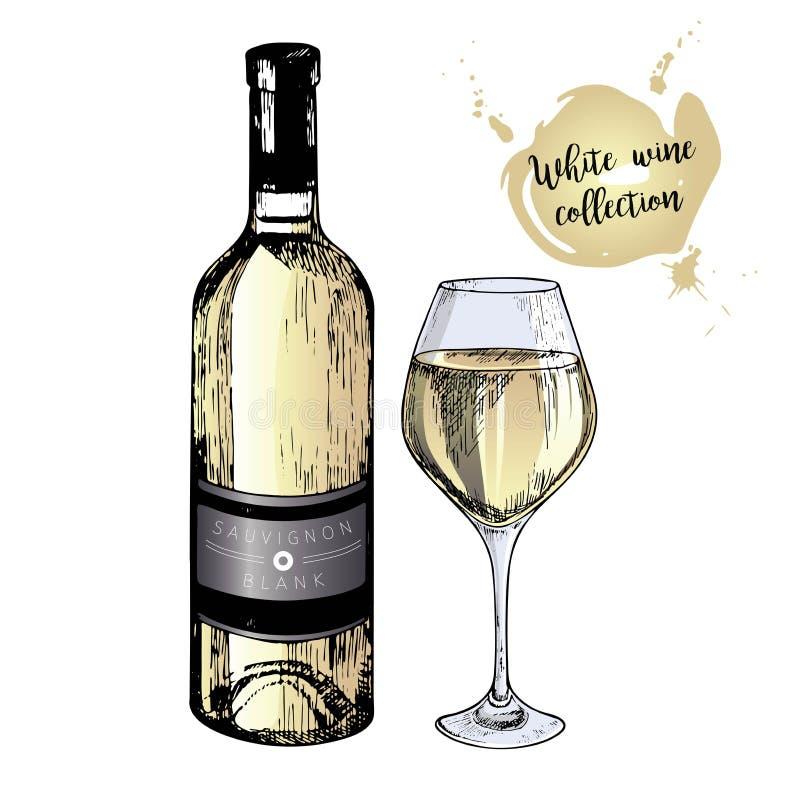 Комплект вектора белого вина в выгравированном винтажном стиле Покрашенные бутылка и стекло вина белизна изолированная предпосылк иллюстрация штока