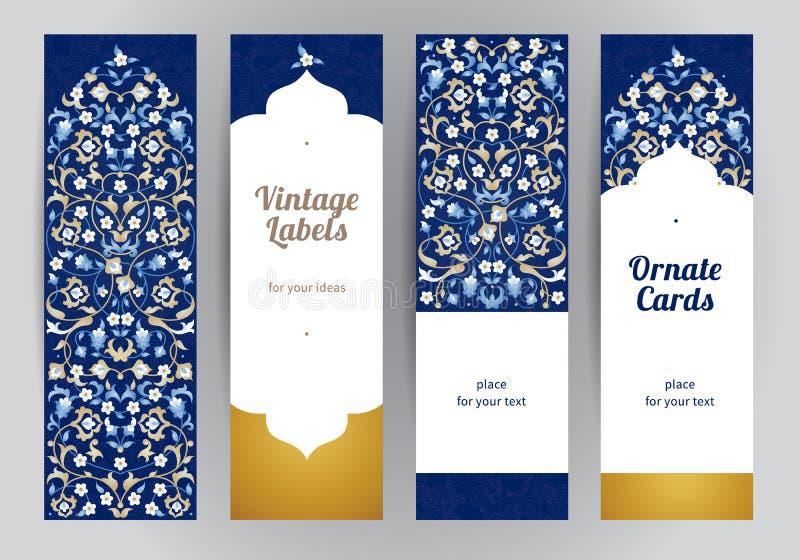 Комплект вектора богато украшенных восточных карточек бесплатная иллюстрация