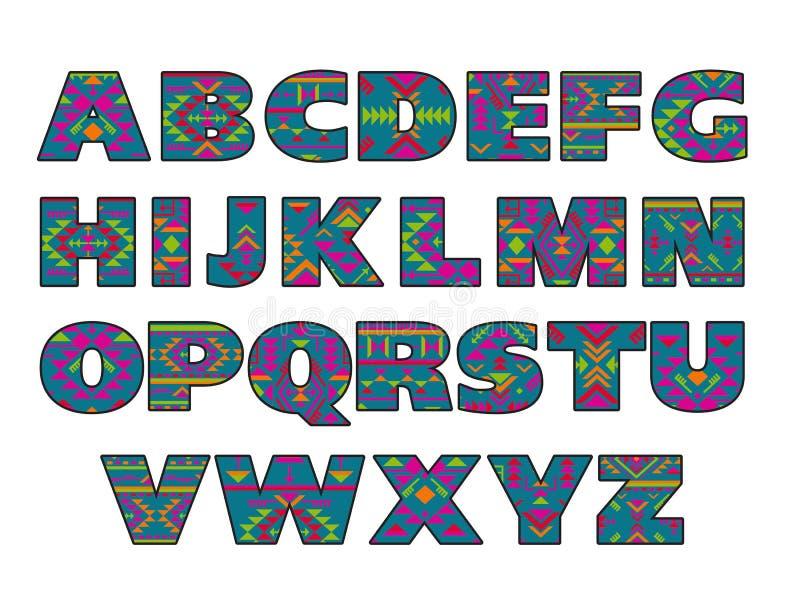 Комплект вектора богато украшенных прописных букв с абстрактными этническими картинами иллюстрация вектора