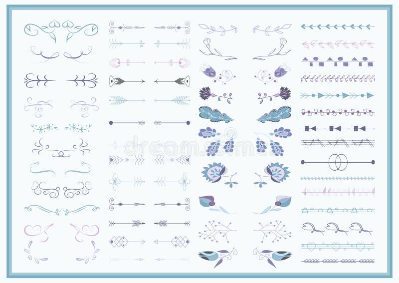 Комплект вектора богато украшенных рамок и элементов переченя иллюстрация штока