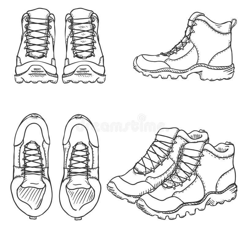 Комплект вектора ботинок эскиза пеших Сторона, фронт и взгляд сверху иллюстрация вектора
